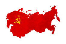 USSR Country Silhouette, Soviet Sickle And Hammer Symbol On Red