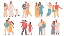 Families Of Different Nationalities. Parents And Children Wearing Traditional Clothes. Arabic, African, Indian And Chinese Family Vector Set
