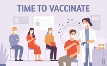 Doctor Vaccinate People. Patient Gets Vaccine Shot In Hospital. Medicine For Immunization. Covid-19, Flu Or Virus Prevention Vector Concept