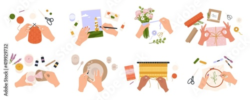 Obraz Hands create crafts. Handmade hobbies, creative work and art. People knit, draw, embroider, make candles and bouquets, top view vector set - fototapety do salonu