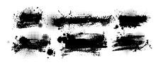 Set Of Grunge Design Elements. Black Blots. Brush Strokes. Vector Illustration