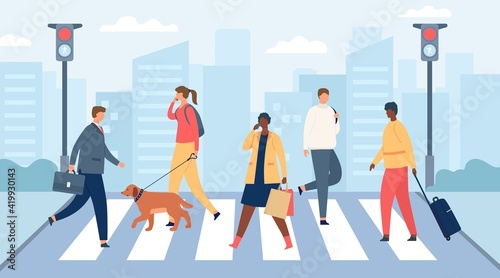 People on crosswalk. Men and women crossing city road with traffic lights. Businessman and girl with dog. Flat crowd on street vector scene