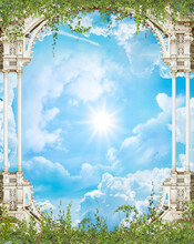 Ceiling With Arch And Flowers In The Blue Sky