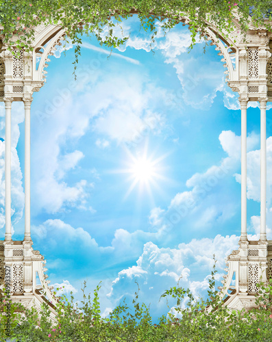 Foto Ceiling with arch and flowers in the blue sky