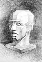Drawing Of The Sculpture Of Gudon's Head (mannequinization) On A Black Background. Isometric Projection. Academic Pencil Drawing. Old Drawing.Rough Touch