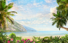Mountain View And Blue Sea View With Palm Trees