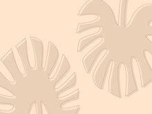 Vector Background With Beige Palm Leaves. It Has Two Abstract Minimalistic Palm Leaves. On A Beige Background.