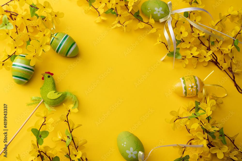 Fototapeta Wielkanoc, Święta, Wiosna, Życie, jąkają, żółty, forsycja, kogucik
