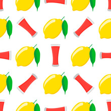 Illustration On Theme Big Colored Lemonade In Lemon Cup