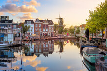 Leiden Old Town Cityscape, South Holland, Netherlands
