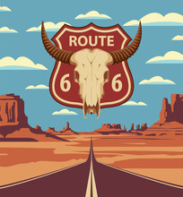 Vector Landscape With An Empty Straight Road On Sandy Wasteland. US Historic Route 66. A Road Sign With A Skull Of Bull On The Background Of An American Desert With Mountains And An Endless Highway