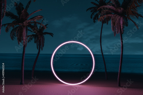 Fotomural 3d rendering of lighten circle shape on beach environment and palm avenue