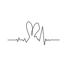 Single Line Drawing, Rabbit's Ears/ Vector Illustration