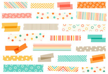 Collection Of Baby Washi Tape Strips. Masking Or Adhesive Tape Strips, Stickers Or Labels. EPS File Has Global Colors For Easy Color Changes And Semitransparent Tape Strips.