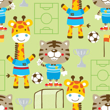 Seamless Pattern Vector Of Cat And Giraffe The Soccer Player With Soccer Elements. Tiger And Giraffe Standing Wearing Soccer Player Uniforms With Trophy, Soccer Ball, Flag, Goal And Soccer Field