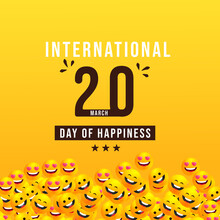 International Day Of Happiness Vector Design For Banner Or Background, Yellow Background ,happiness Banner, Happiness Day.