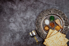 Matzoh Bread With Kiddush And Seder. Jewish Passover Holiday Concept.