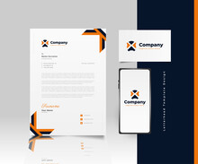 Modern Business Letterhead Template Design In Blue And Orange With Logo, Business Card And Smartphone