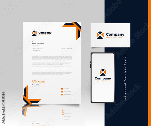 Fotografia, Obraz Modern Business Letterhead Template Design in Blue and Orange with Logo, Busines