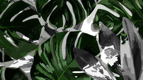 Tablou Canvas water drops on the leaves natural background with earth tones abstract vector ba