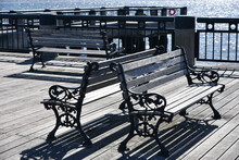 Outdoor Benches Near Seating Pavilion At Waterfront Park In The Downtown Charleston, South Carolina Harbor.