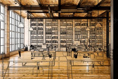 Obraz na plátně Laboratory for Art Education (illustration) - 3d visualization