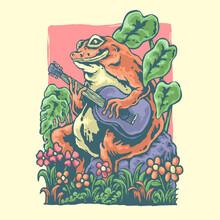 Vintage Illustration Of A Guitar Frog Design