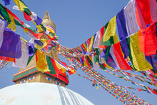 Stupa With Prayer Flags At Boudhanath Temple, Kathmandu, Nepal