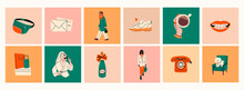 Stylish Ladies Wearing Trendy Clothes, Coffee Cup, Sneakers. Modern Woman Lifestyle. Work And Sport Fashion, Spa Relaxation And Shopping Concept. Various Isolated Icons. Hand Drawn Vector Set