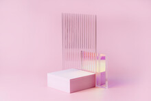 Empty Podium For Product Display. Monochrome Pedestal With Ribbed  Glass On Pink Background. Stylish Background For Presentation. Minimal Style.