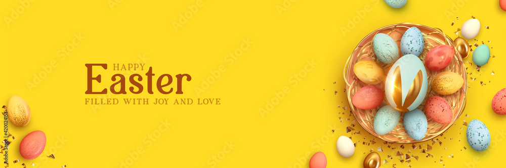 Fototapeta Festive Easter horizontal banner, template header for website. Realistic 3d design elements. Spring holiday. Easter eggs in basket. View from above. Yellow background. Vector illustration