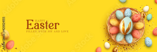 Festive Easter horizontal banner, template header for website. Realistic 3d design elements. Spring holiday. Easter eggs in basket. View from above. Yellow background. Vector illustration