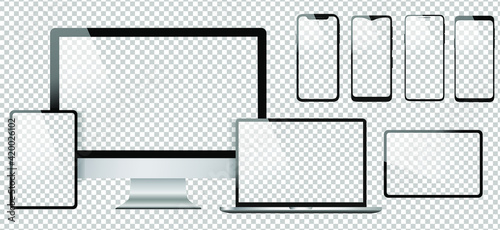 Obraz Realistic computer design vector icons. Notebook, tablet and smartphone illustration. Transparent background and isolated white screens. Apple, iMac, MacBook and iPhone mockup  copy collection.  - fototapety do salonu