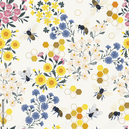 Meadow wildflower honeybee vector seamless pattern Wallpaper Mural