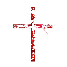 Bloody Cross. Cross Made Of Drops Of Paint. Vector Illustration