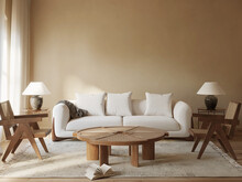 3d Rendering Of A Natural Beige Tones Interior With A White Sofa And Two Wooden And Rattan Chairs