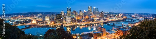 View of Pittsburgh at night from Grandview Avenue in Mount Washington Pittsburgh Pennsylvania.