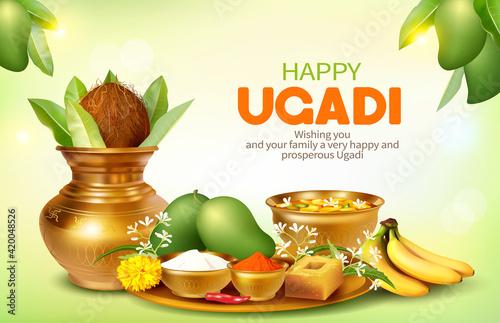 Fototapeta Greeting card with Kalash and traditional food pachadi with all flavors for Indian New Year festival Ugadi (Gudi Padwa, Yugadi).  obraz