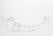 Sketch Of The Part Of A Huge Stronghold Or Fortress Done By Ink On Paper