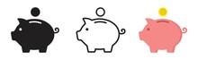 Piggy Bank Icon. Piggy Bank Saving Money Icon In Different Style. Baby Pig Piggy Bank. Vector Illustration