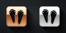 Gold And Silver Rabbit And Hare Paw Footprint Icon Isolated On Black Background. Long Shadow Style. Vector