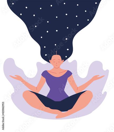 woman sitting meditating Wallpaper Mural