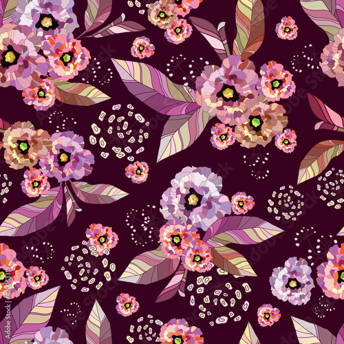 Fototapety, obrazy: Tropic exotic flowers, orchid, plumeria. In trendy burgundy background with purple, pink leaves, blooming branches . Floral seamless vector pattern. Drawn fashion print exclusive summer plant