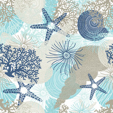 Cute Seamless Pattern With Algae, Corals And Seashells.