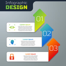 Set Eye Scan, Face Recognition And Fingerprint With Lock. Business Infographic Template. Vector