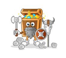 Treasure Viking With An Ax Illustration. Character Vector