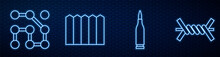 Set Line Bullet, Graphic Password Protection, Garden Fence Wooden And Barbed Wire. Glowing Neon Icon On Brick Wall. Vector