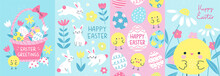Happy Easter! Set Of 4 Card, Poster Or Banner Templates In Colorful Modern Style. Vector Illustration Of Cute Easter Bunnies, Chicks And Flowers For Celebration Of The Spring Holiday.