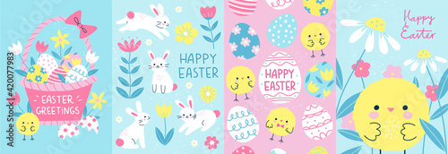 Photo Happy Easter! Set of 4 card, poster or banner templates in colorful modern style