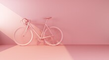 Pink Bike On Pink Wall Side View